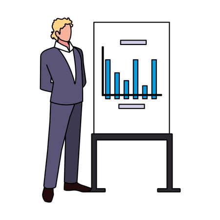 businessman standing with graphs on white background vector illustration design Иллюстрация