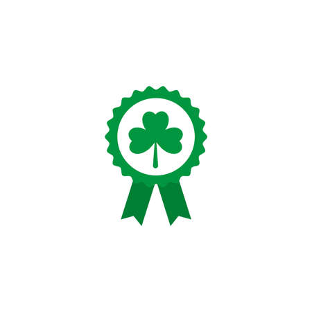 badge with green ribbon, flat style icon vector illustration design