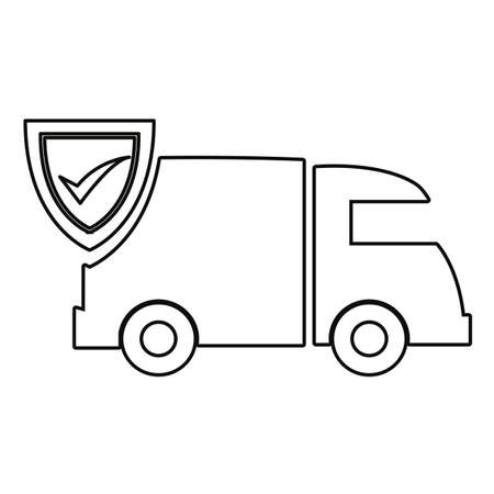truck delivery fast shipping check mark cardboard boxes vector illustration Ilustração
