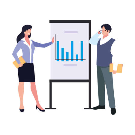 couple of people of business with graphs on white background vector illustration design Иллюстрация