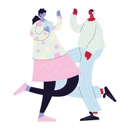 couple walking and dancing with style vector illustration design