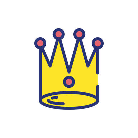 Crown design, Royal king queen luxury jewelry kingdom insignia emperor authority and coronation theme Vector illustration Çizim