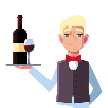 man waiter holding tray with bottle wine on white background vector illustration design