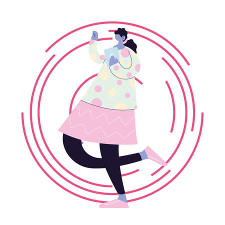 woman listening music and dancing vector illustration design