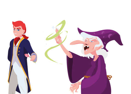 prince charming and witch of tales character vector illustration design Çizim