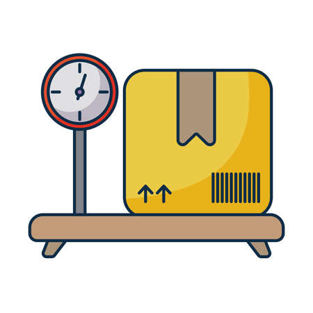 cardboard box over industrial cargo weight scale on white background vector illustration design