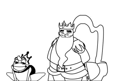 king on throne with toad prince characters vector illustration design