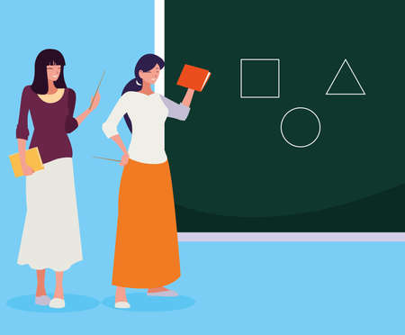 female teachers couple with textbooks and chalkboard vector illustration design Иллюстрация