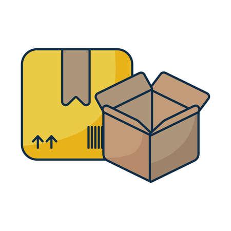 cardboard boxes on white background vector illustration design