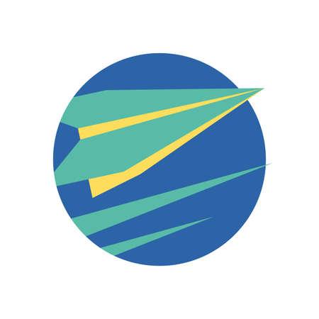 Origami paperplane design, Travel paper airplane fly transport aviation flight vacation and transportation theme Vector illustration Иллюстрация