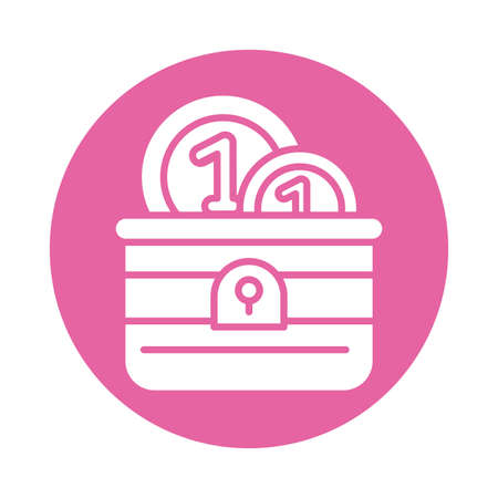 coin chest , silhouette style icon vector illustration design Ilustrace