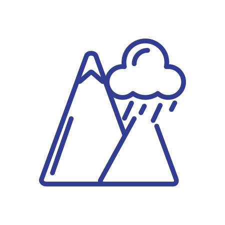 rainy clouds and mountains over white background, line style icon, vector illustration Иллюстрация