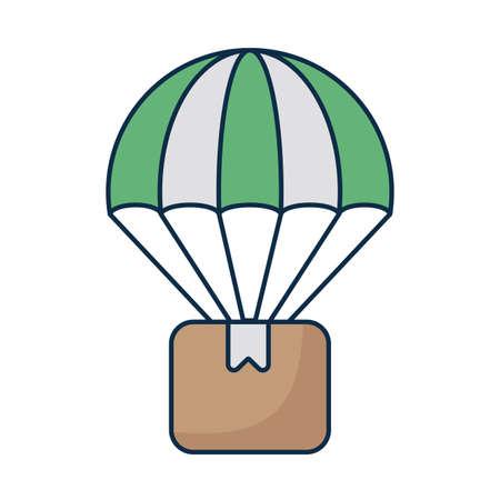 cardboard box with parachute on white background vector illustration design Çizim