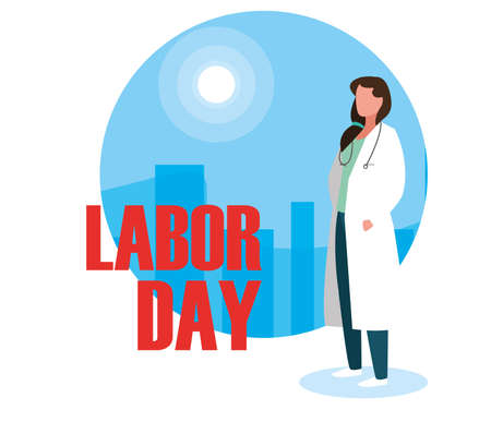 labour day celebration with doctor female vector illustration design