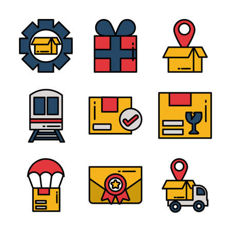 set of icons freight delivery logistics on white background vector illustration design Иллюстрация