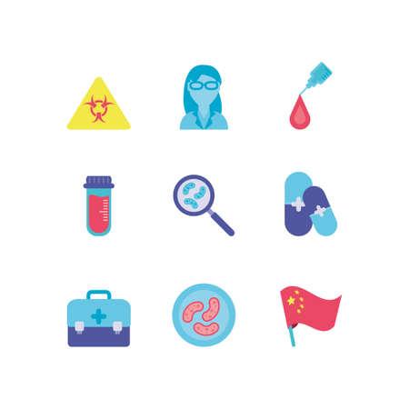 virus alert and medical icons set over white background, colorful design, vector illustration