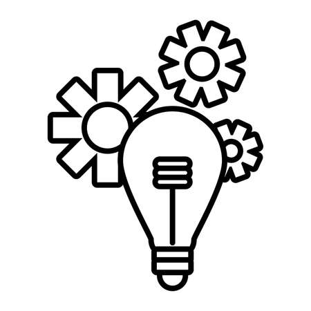 light bulb with gears in white background vector illustration design