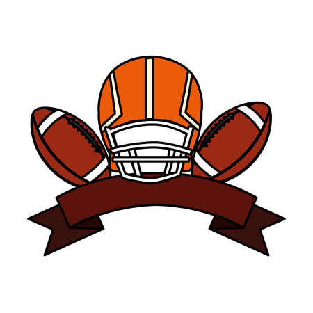 helmet and ball american football on white background vector illustration design Çizim