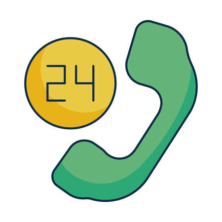 telephone receiver with symbol of open around the clock on white background vector illustration design