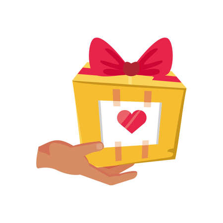 gift with hand on white background vector illustration design Illustration