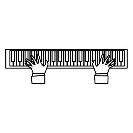 pianist hands playing piano vector illustration design