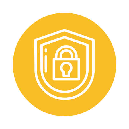 padlocked shield, block and flat style icon vector illustration design