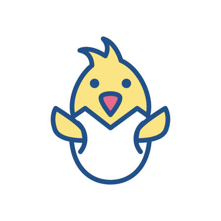egg with little chicken over white background, line style icon, vector illustration