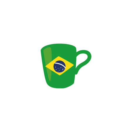 Brazil flag mug design, Culture tourism brazilian travel south latin america country and traditional theme Vector illustration