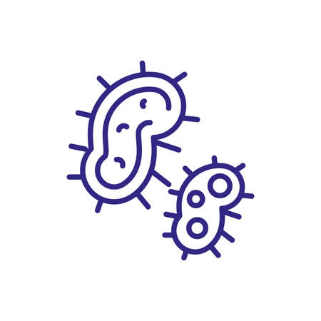 bacteria icon over white background, line detail style, vector illustration Illustration