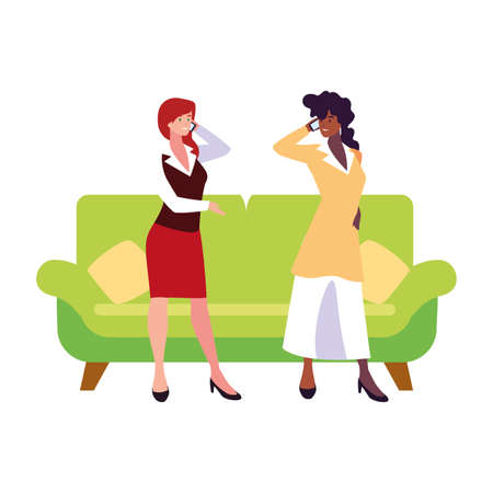 businesswomen in the living room on white background vector illustration design