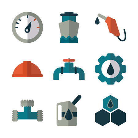 set of icons oil on white background vector illustration design
