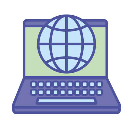 Global sphere and laptop line and fill style icon design, Communication internet and connectivity theme Vector illustration