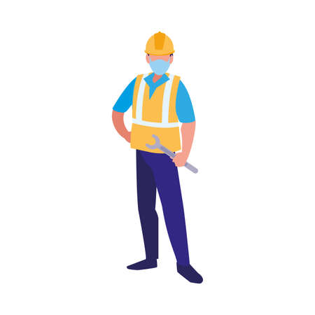 industrial worker man working with face mask vector illustration design Vectores
