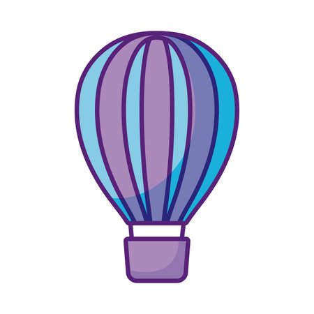 hot air balloon icon over white background, flat style, vector illustration