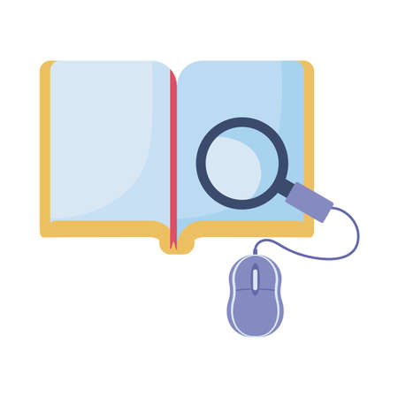 book and computer mouse, online education, training or learning vector illustration design