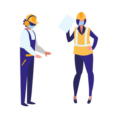 Industrial workers couple working with face mask vector illustration design Vectores