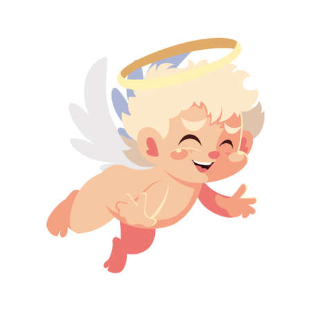 cute cupid angel on white background , valentines day vector illustration design