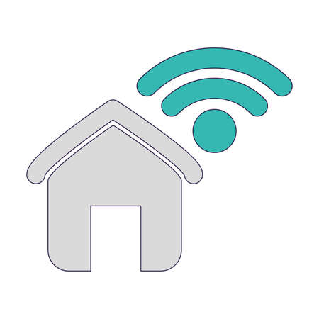 house shape and wireless icon over white background, vector illustration Иллюстрация