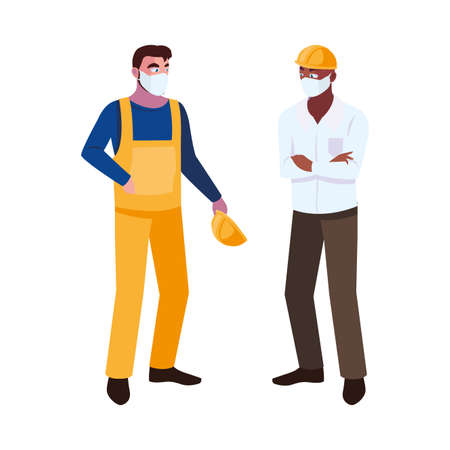 male operator and executive with mask and helmet vector illustration design
