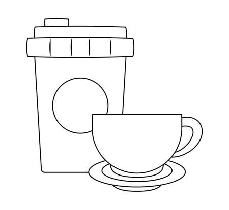 plastic container with cup of coffee vector illustration design