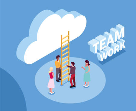 group of people with cloud and stairs , teamwork vector illustration design
