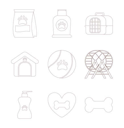set of icons with pet accessories , line style icon vector illustration design