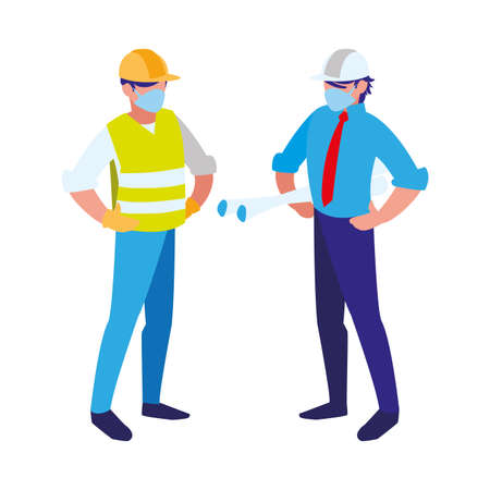 industrial workers men working with face mask vector illustration design Vectores