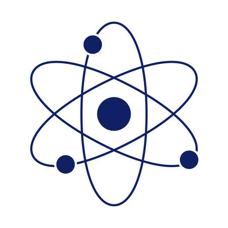 atom symbol, silhouette style icon vector illustration design