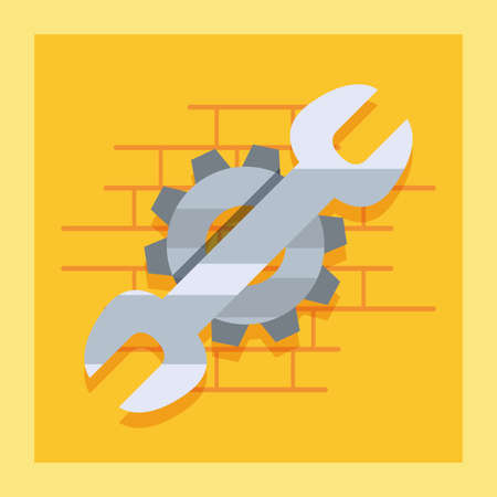 wrench gear tool wall brick labour day vector illustration Vectores