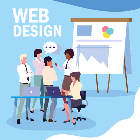 group of people business in meeting on global planning and marketing research, web design vector illustration design Çizim
