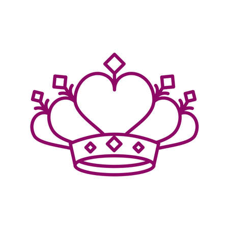 cute crown on white background, line style icon vector illustration design