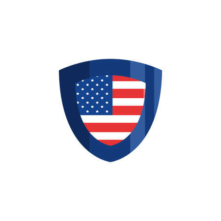 Usa flag shield design, United states america independence day nation us country and national theme Vector illustration