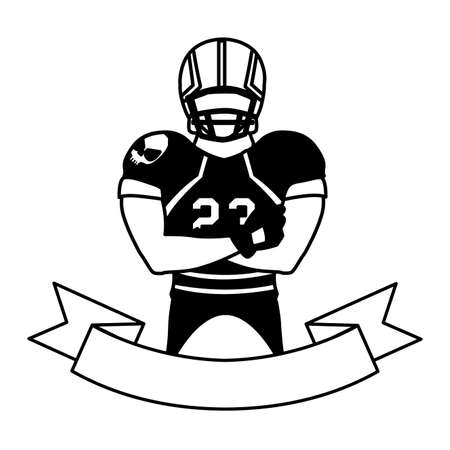 man player american football with ribbon on white background vector illustration design