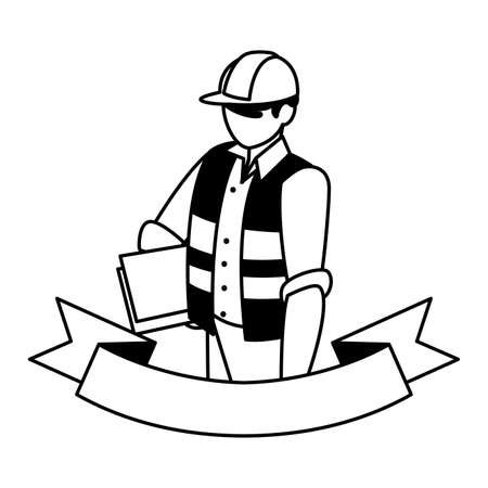technician man in uniform with equipment on white background vector illustration design Vectores